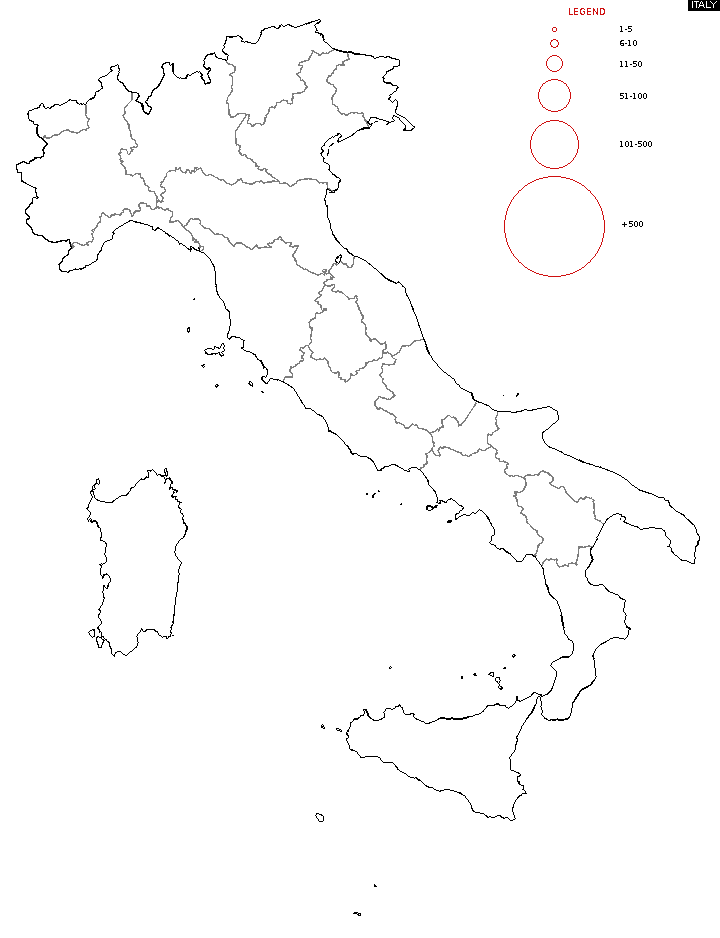 Distribution of surname Italy Surname Map